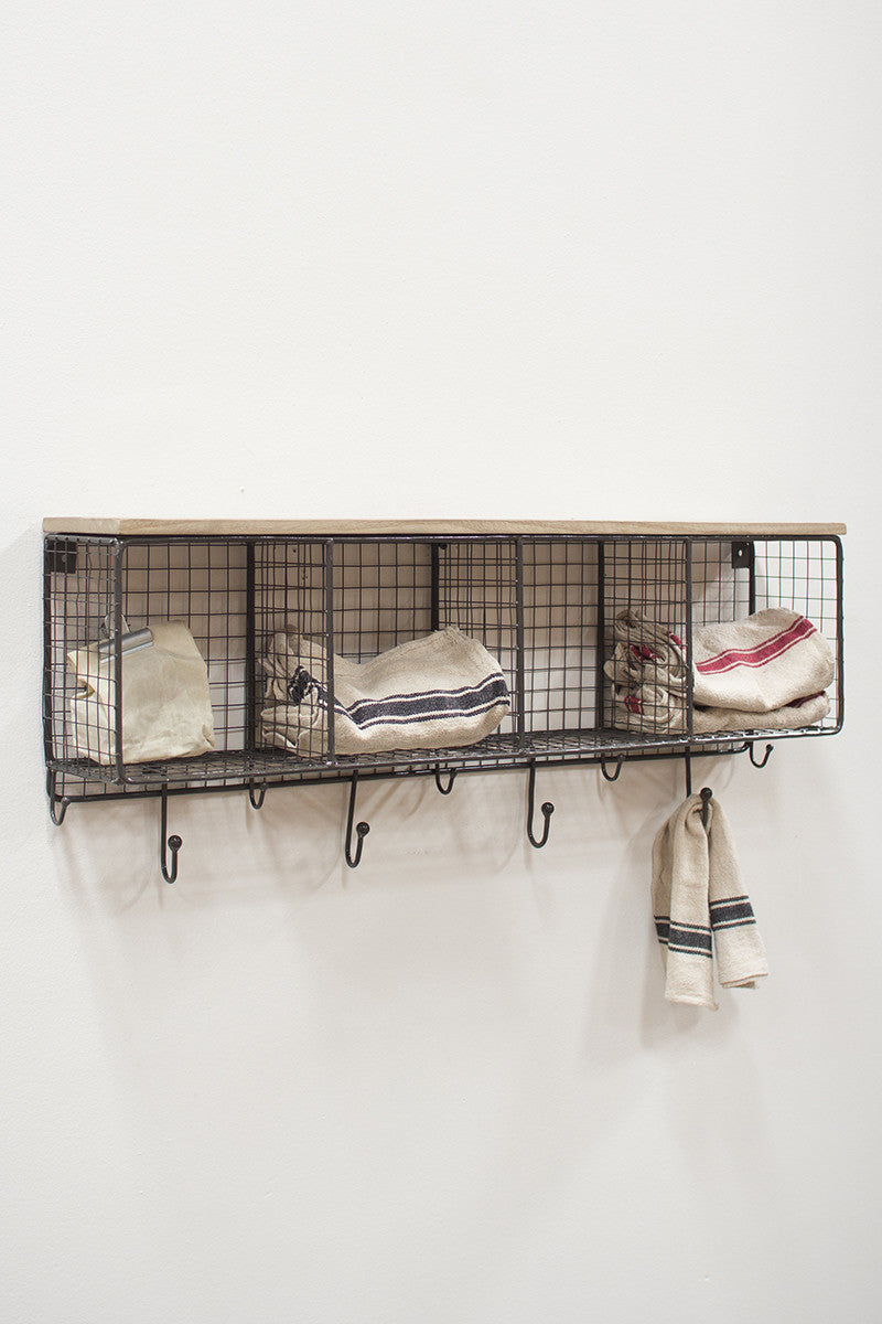 Wire Mesh Cubbies W/ Wooden Top
