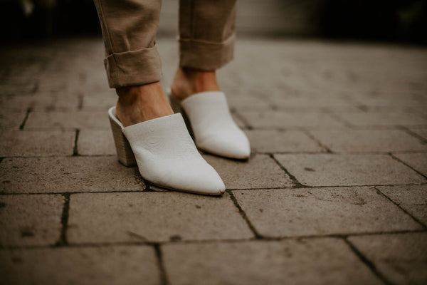 The Angela Mules in Ivory Embossed Leather