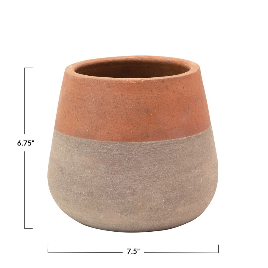 Two-Tone Terra-Cotta Cement Planter