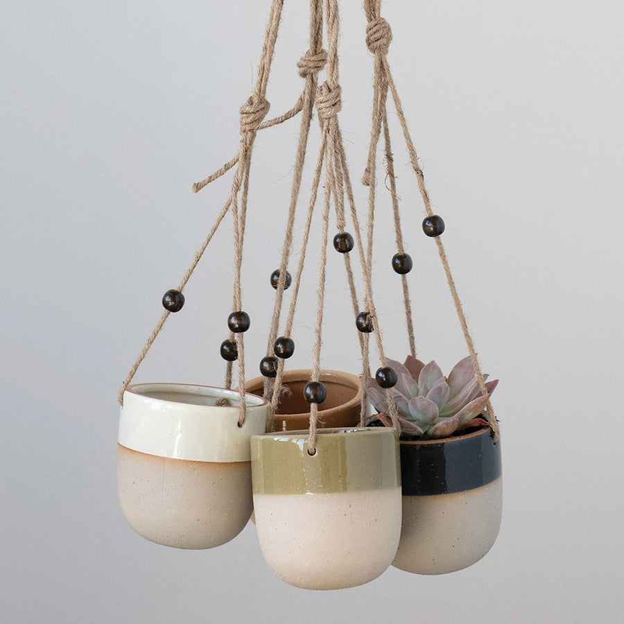 Stoneware Beaded Hanging Pot