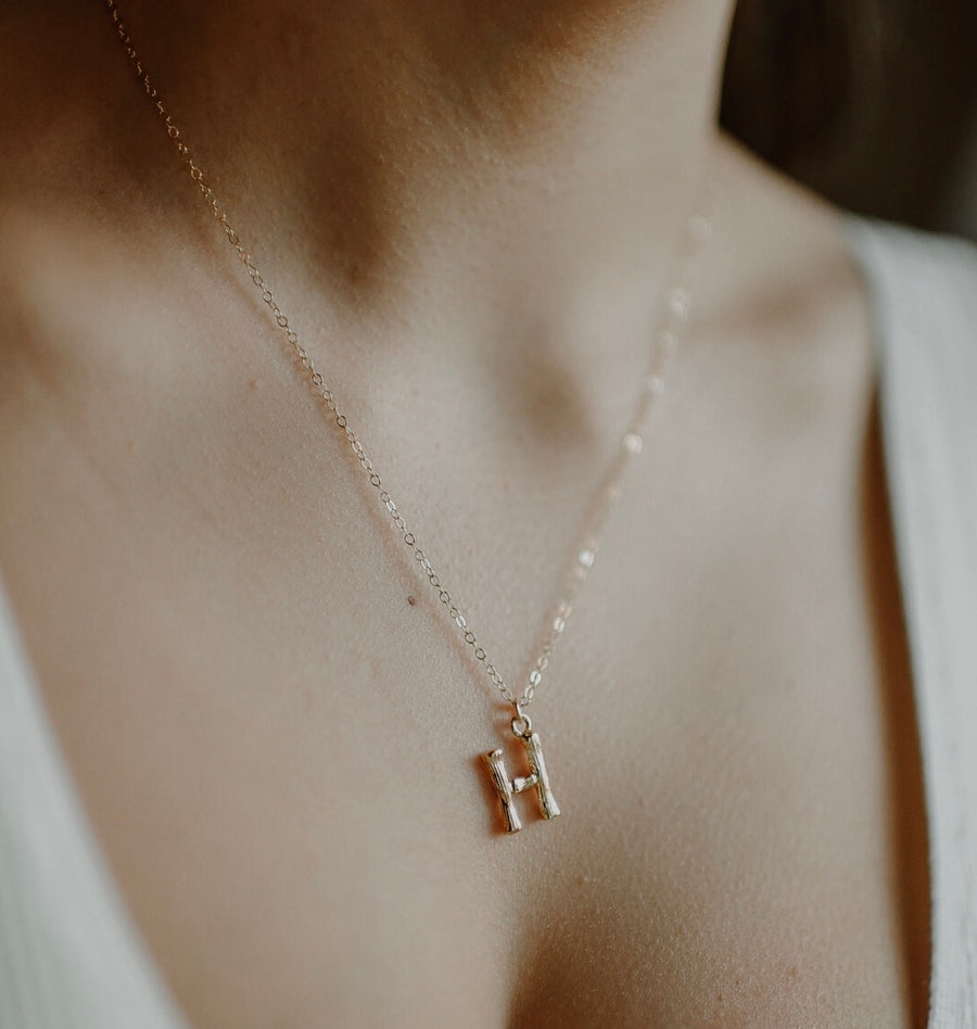 Small Bamboo Initial Necklace