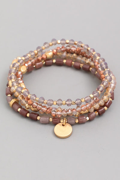 Mauve Beaded Bracelet Set