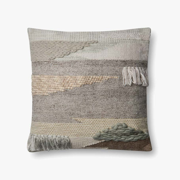 Grey & Taupe Fringe Detail Pillow