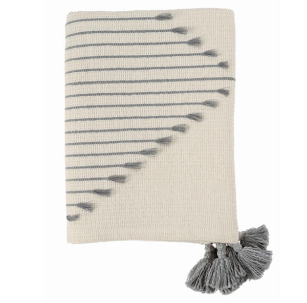 Diamond Stripe Tassel Throw