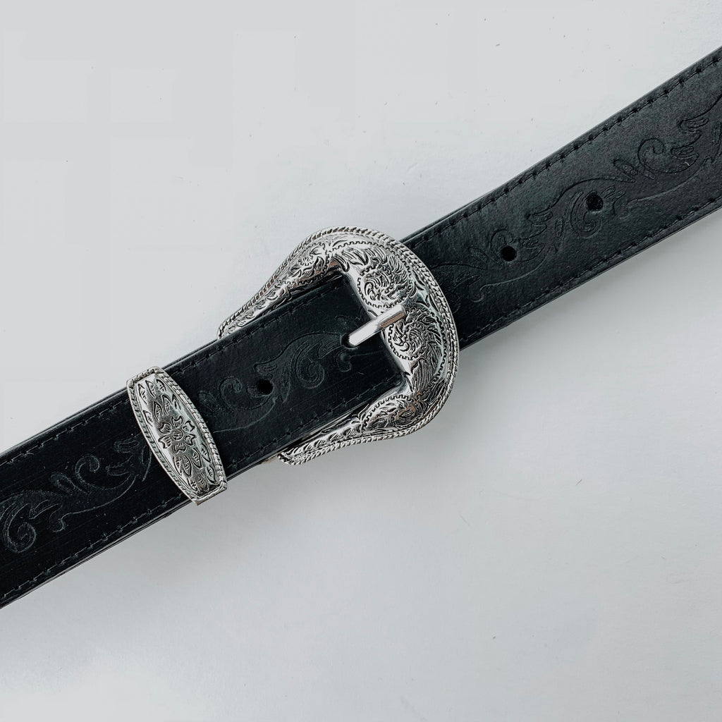 Classic Black Western Style Leather Belt