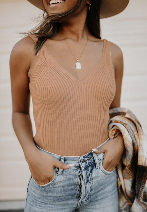 Valentina V-Neck Ribbed Tank