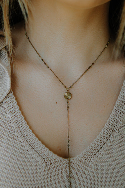 Bronze Lariat Necklace