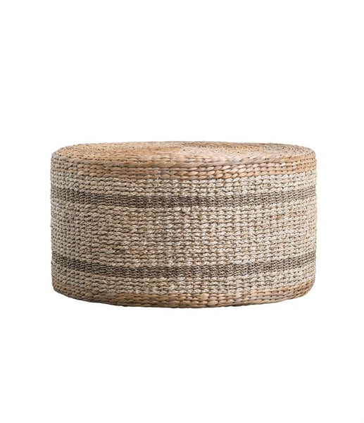 Natural Woven Hyacinth + Seagrass Pouf