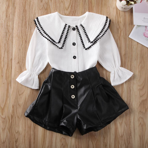 Collar Top & Shorts (White)