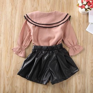 Collar Top & Shorts (Pink)