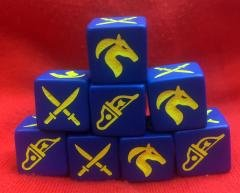 8 SAGA Dice for use with the Pagan Peoples, Eastern Princes and the Mongol Battle Boards in SAGA Age of Crusades.