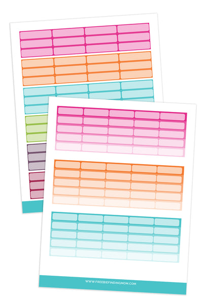 Rectangle Boxes Planner Stickers (3 Pages)