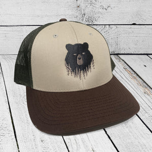 Bear in the Woods Vermont trucker hat. Artist designed VT baseball hat.