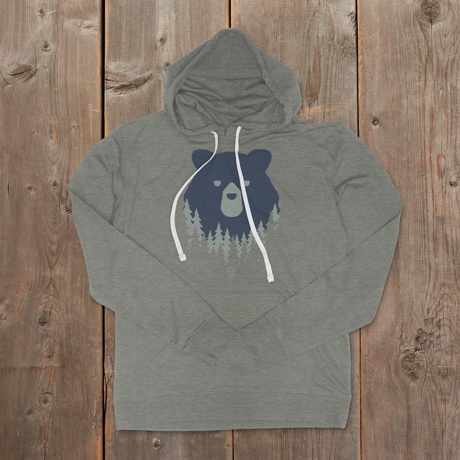 Bear in the Woods Vermont hooded sweatshirt on grey. Artist designed VT hoodie.