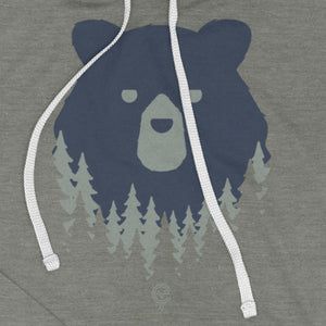 Bear in the Woods Vermont hooded sweatshirt on grey. Close up view of artist designed VT hoodie.