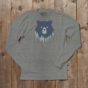 Bear in the Woods Vermont long sleeve tshirt on grey. Artist designed VT t-shirt.