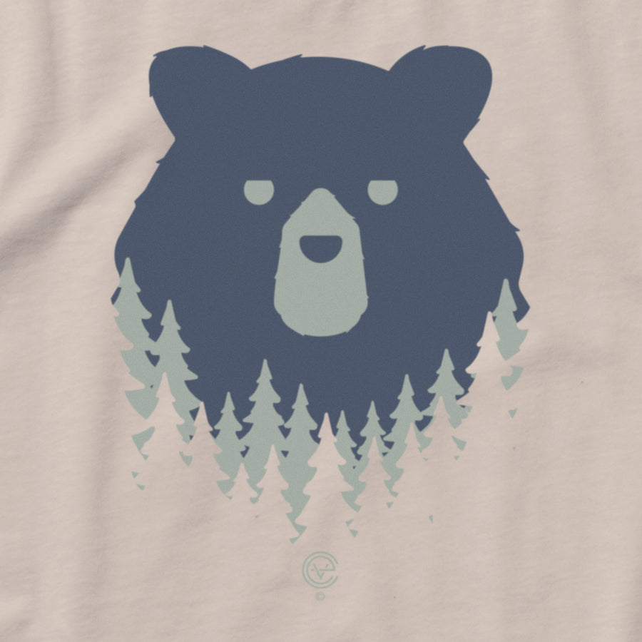 Bear in the Woods Vermont long sleeve tshirt on natural. Artist designed VT t-shirt.