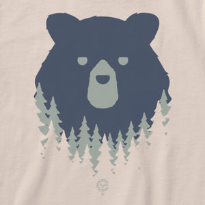 Bear in the Woods Vermont tshirt on natural. Artist designed VT t-shirt.