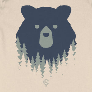 Bear in the Woods Vermont infant onepiece on natrual. Artist designed VT infant clothes.