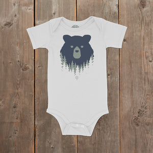 Bear in the Woods Vermont infant onepiece on white. Artist designed VT infant clothes.