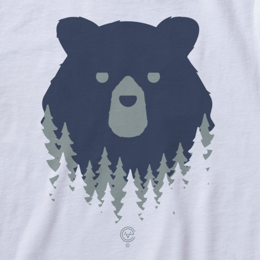 Bear in the Woods Vermont tshirt on white. Artist designed VT t-shirt.