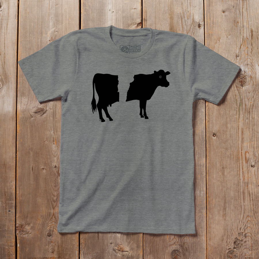 Belty the Cow Vermont tshirt on grey. Artist designed belted cow VT t-shirt.