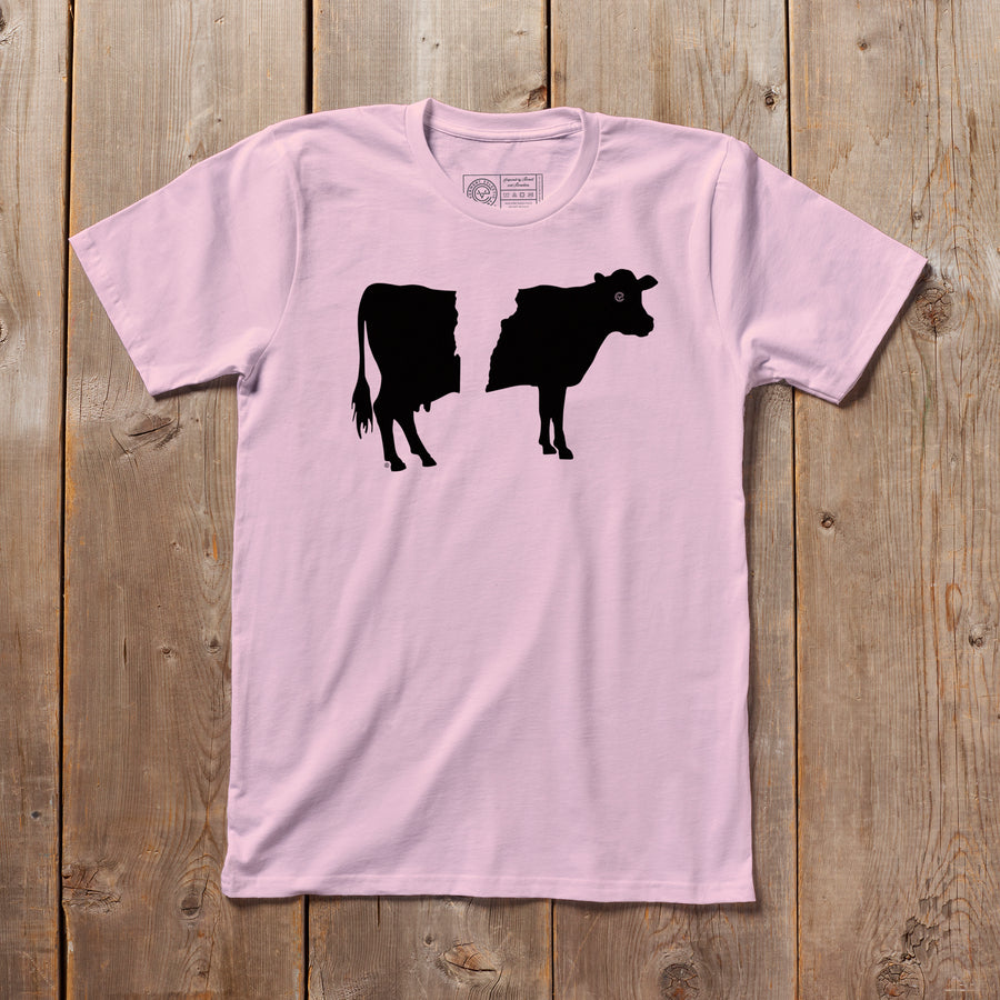 Belty the Cow Vermont tshirt on pink. Artist designed belted cow VT t-shirt.