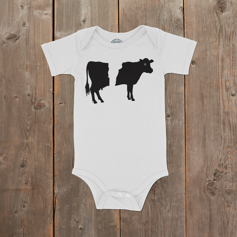 Belty the Cow Vermont infant one piece on white. Artist designed belted cow infant clothes.