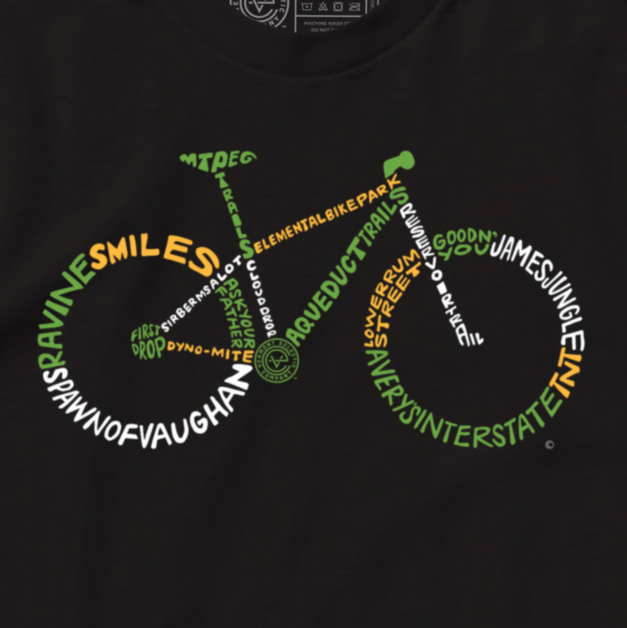 Biker's Paradise Vermont mountain bike long sleeve tshirt on black. Artist designed VT mountain biking t-shirt.