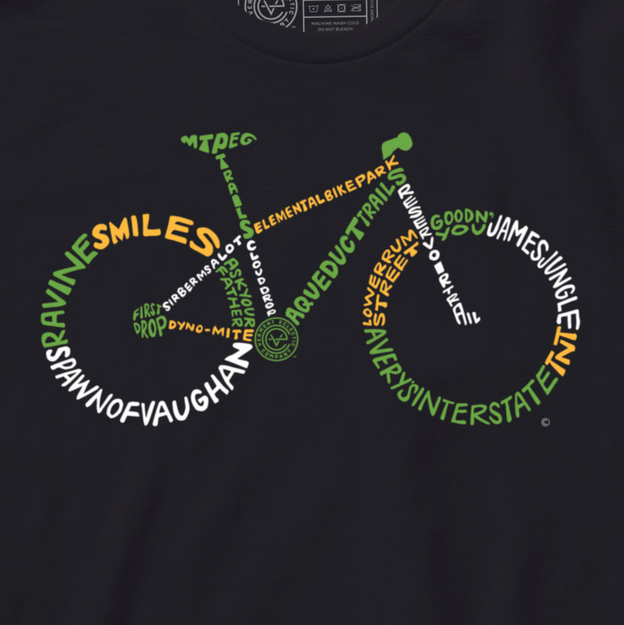 Biker's Paradise Vermont mountain bike tshirt on black. Artist designed VT mountain biking t-shirt.