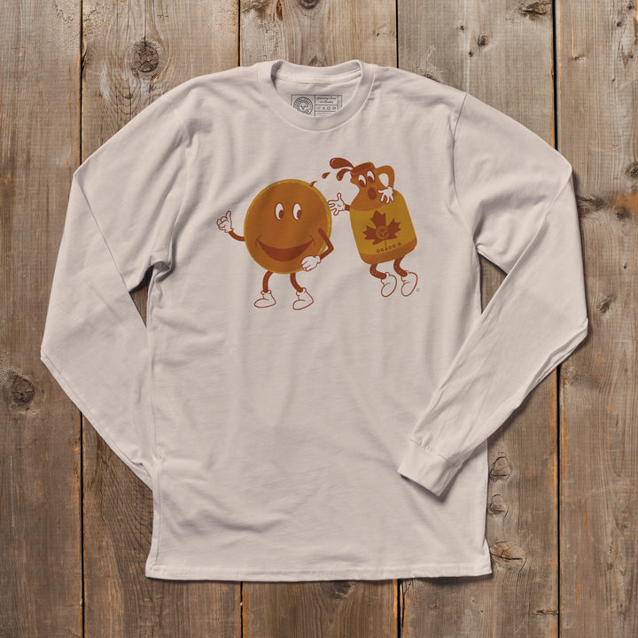 Breakfast with Friends Vermont long sleeve tshirt in natural. Artist designed VT youth t-shirt.