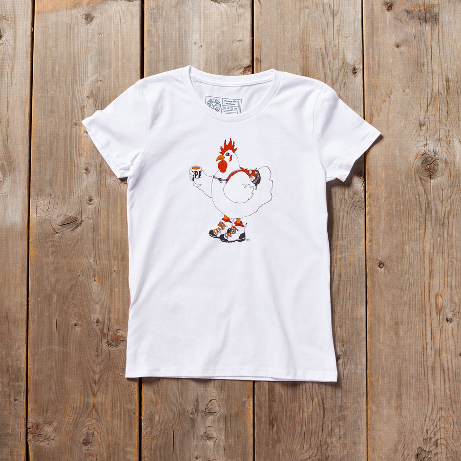 Clucky the Hiker Vermont tshirt in white. Artist designed VT chicken hiking t-shirt.