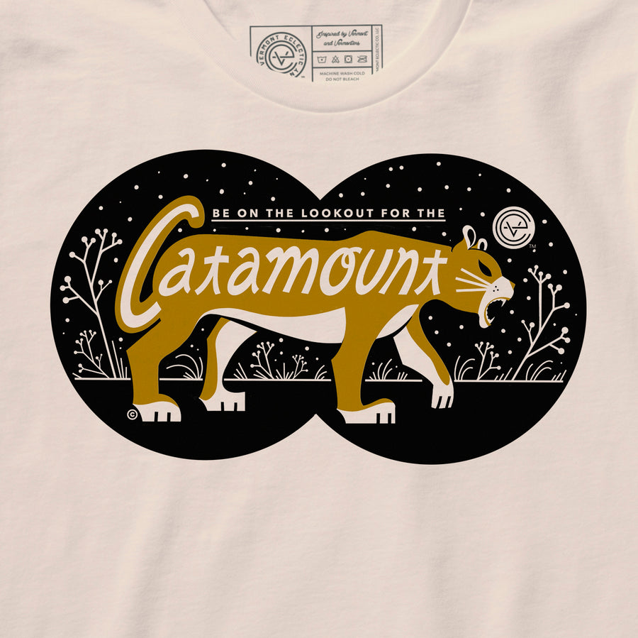 Catamount Vermont tshirt in natural. Artist designed VT t-shirt.