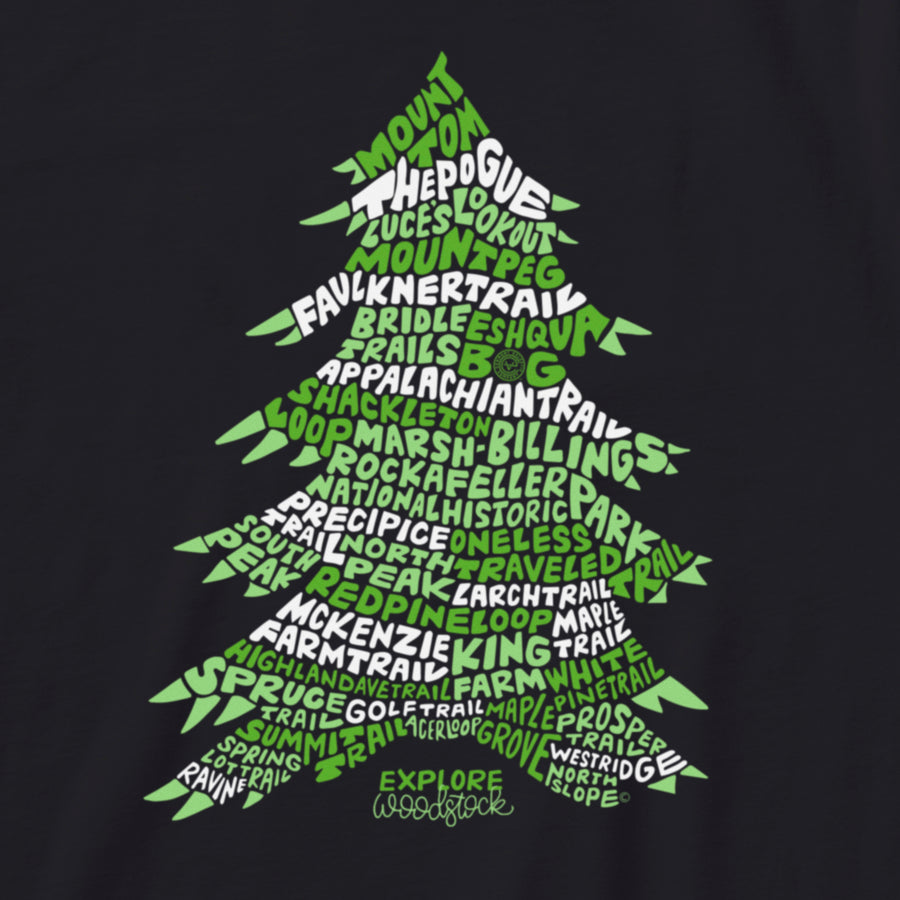 Explore Woodstock Vermont tshirt in black. Artist designed VT tree t-shirt.