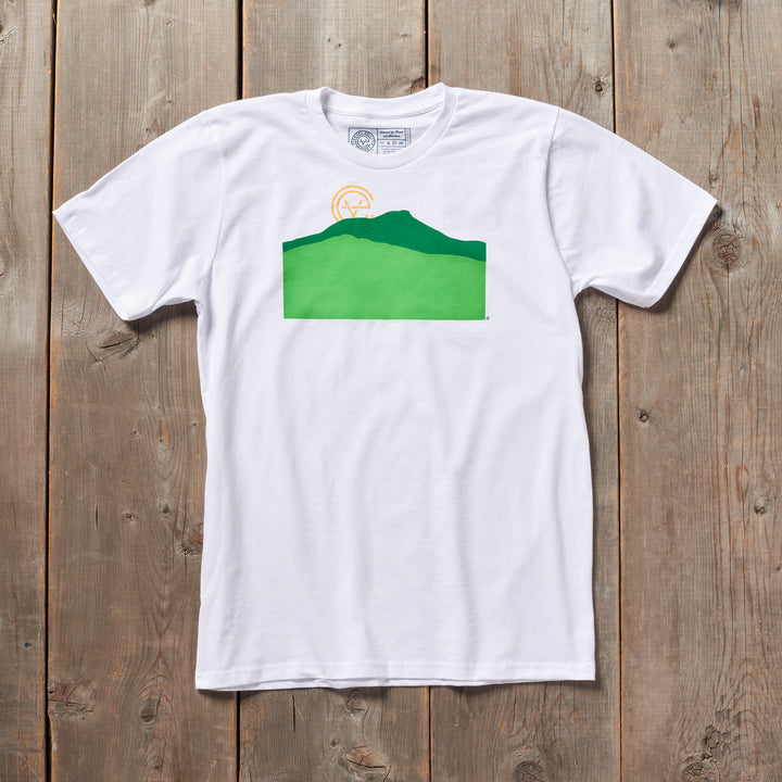 Camels Hump Vermont tshirt in white. Artist designed VT t-shirt.