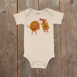 Breakfast with Friends Vermont infant onepiece in natural. Artist designed VT youth t-shirt.