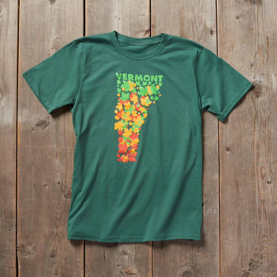 Fall for Vermont tshirt in green. Artist designed VT foliage t-shirt.