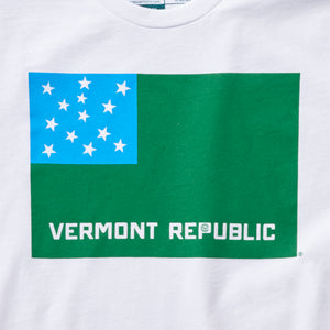 Vermont Republic Vermont tshirt on white. Artist designed VT t-shirt.