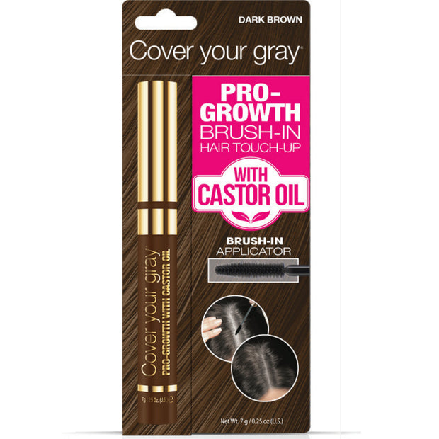 Cover Your Gray Pro-Growth Brush-in Hair Touch-up with Castor Oil - Cover Your Gray - Cover Gray Hair, Roots, and Thinning Hair in Seconds
