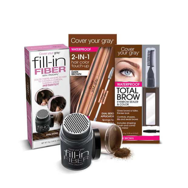 Cover Your Gray Fill-in Fiber, 2-in-1 Waterproof Touch-Up & Total Brow 3-PC SET - coveryourgray