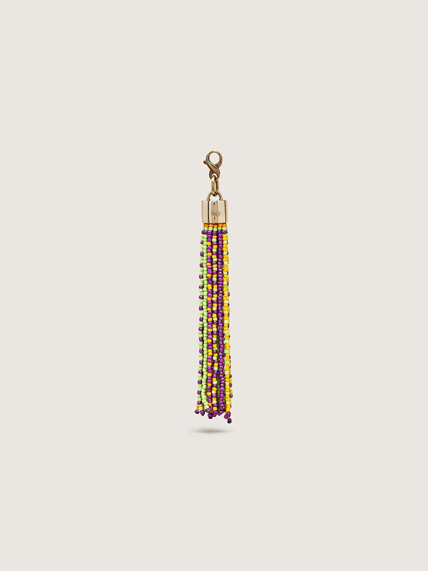 Beaded Tassel Charm - Lime Purple Yellow