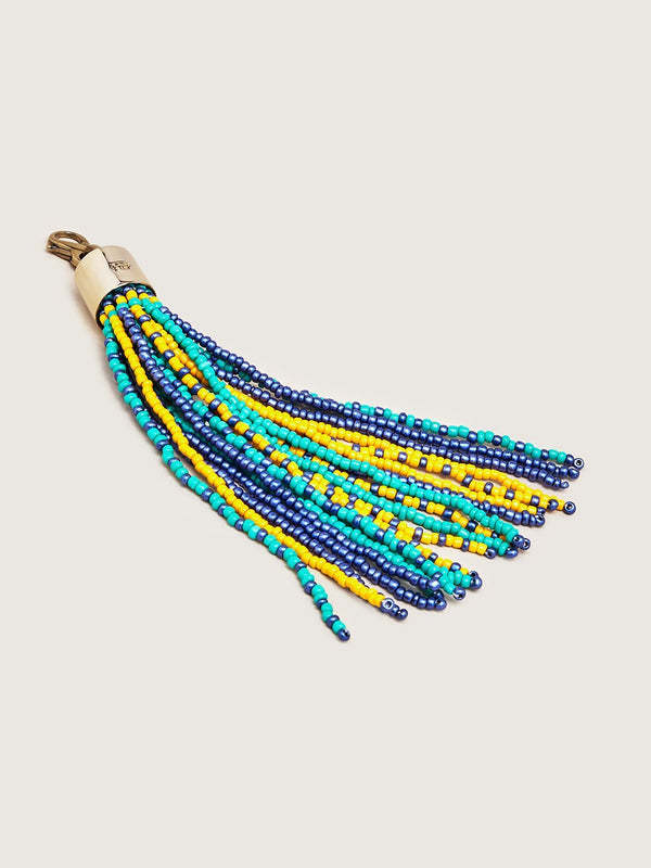 Beaded Tassel Charm - Green Navy Yellow