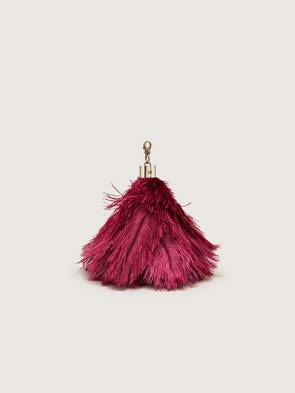Ostrich Feather Charm - Bordeaux