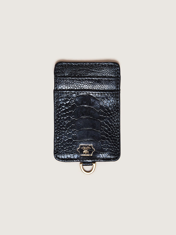 Phone Wallet - Black Ostrich Shin