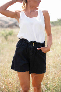 Anodella Black Wash Denim Shorts