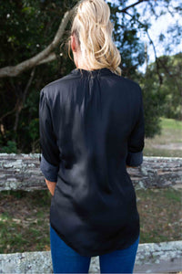 Abrilla Black Satin Roll sleeve shirt