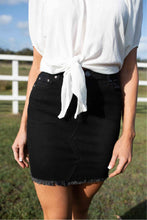 Load image into Gallery viewer, X Stitch Black Denim Skirt