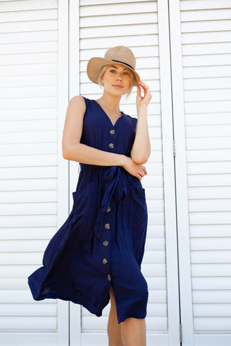 Cymbeline Linen Dress Navy