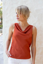 Load image into Gallery viewer, Eliana Satin Cowlneck Top Rust