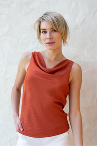 Eliana Satin Cowlneck Top Rust